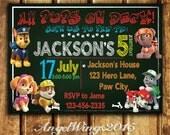 Paw Patrol Invitation - Chalkboard style - Paw Patrol Party - Invite - Paw Patrol Birthday - Chase Rubble Marshall Ryder Rocky - PA_2