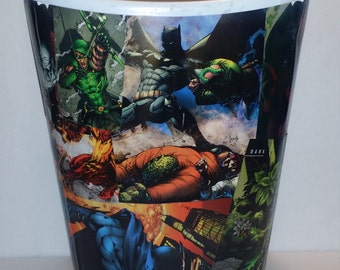 trash can waste basket wrapped in DC comic