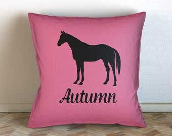 Personalized Horse Name Decorative Throw Pillow / Personalized/ Choose Color/ Custom Name/ Horse Silhouette/ Horse Pillow
