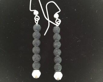 black beach glass earrings