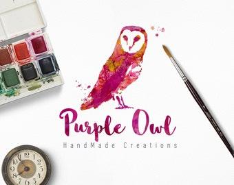 Watercolor Purple Owl Logo, Customizable and Handmade
