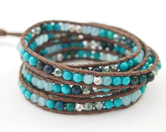 5 times wrap bracelet, Turquoise mix
