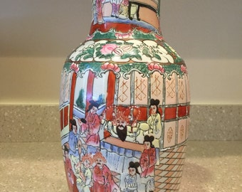 Tall 1940's Chinese hand painted porcelain vase