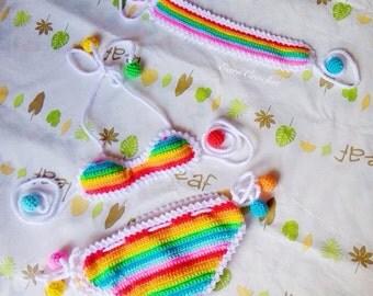 Rainbow beach set,Crochet baby bikini and headband,swimsuit,baby bikini,toddler bikini,baby swimsuit,cute swimsuit,summer baby,swimwear baby