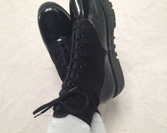 Vintage Ghost-In Paris Black Patent Leather Platform Sneakers
