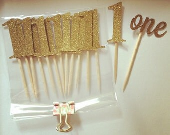Gold Glitter Number One Cupcake Toppers