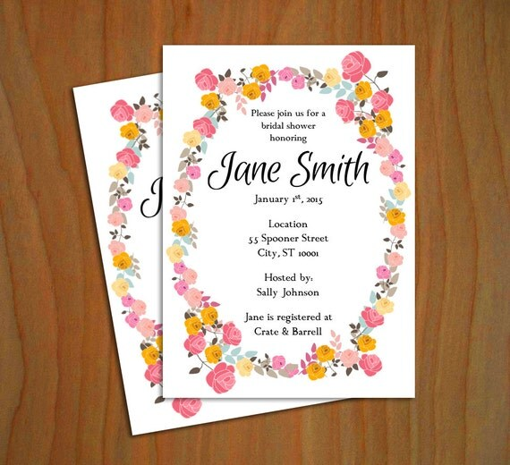 floral bridal shower invitation template 5x7 mac or pc. Black Bedroom Furniture Sets. Home Design Ideas