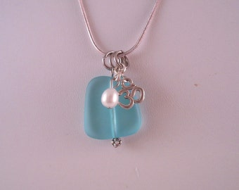 Necklace, glass, sea glass, beads, zen,
