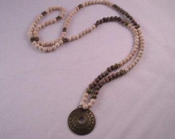 Necklace, zen, long necklace, bronze