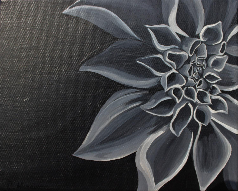 Black and White Dahlia Flower Original Acrylic Painting