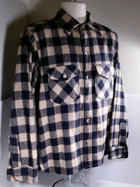 Vtg Woolrich Buffalo Plaid Black White Flannel Jacket By