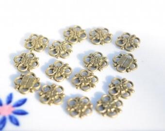 25 Bronze Connectors - Flower Connectors - Bronze Charm Connectors - Flower Charms - Bronze Jewelry Findings - Bracelet Findings - BC58