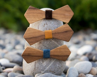 Walnut Wooden Bow Tie - Diamond (3 leather color options)