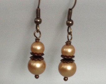Antique Brass Gold Pearl Bridesmaid Earrings | Rustic Wedding Jewelry | Gold Pearl Earrings | Antique Brass Pearl Earrings