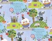Nursery Rhyme Fabric, Cotton, Mother Goose Fairy Tales, Humpty Dumpty, Fantasy, Blue, Children's Fabric, Baby, Toddler Fabric
