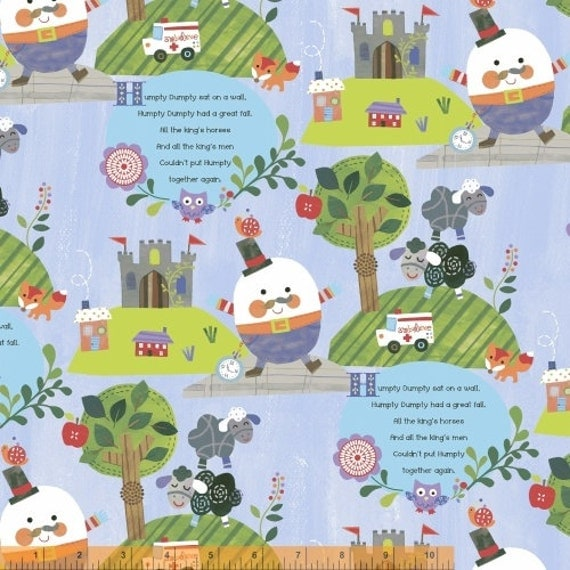 Nursery rhyme fabric cotton mother goose fairy tales humpty for Nursery cotton fabric