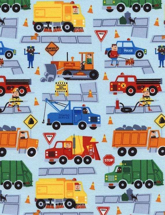 Trucks fabric boys cotton fabric traffic jam trucks dump for Boys cotton fabric