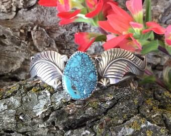 Australian Turquoise Bracelet/ artisan handmade/BohoChic Jewelry/ Southwestern Cuff Bracelet/ Sterling Silver