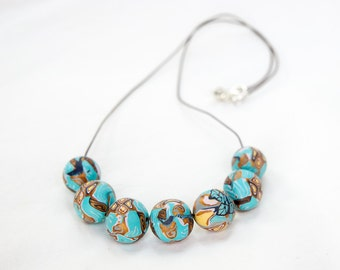Necklace gift, necklace, turquoise, jewellery, for her, jewellery gift, polymer clay, bib necklace, boho, one of a kind, unique, cord, fimo
