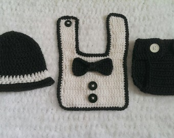 crochet tuxedo outfit 3 pieces crochet hat crochet diaper cover crochet bib