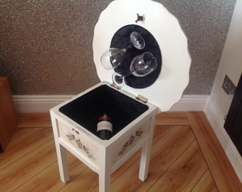 Side table with opening wine storage compartment finished in Annie Sloan chalk paint by UniqueHomePieces