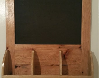 reclaimed mail organizer chalk or cork board.