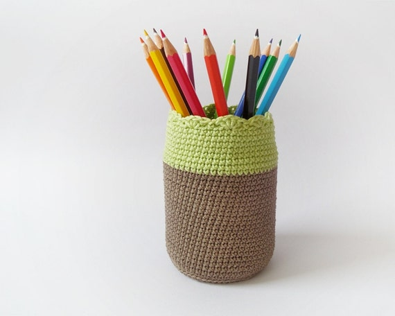 Items similar to Cotton crochet pen holder, eco friendly ...