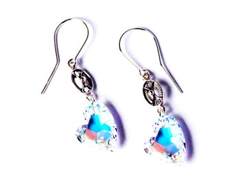 Earrings Silver 925 heart Devoted 2 U Swarovski Element Crystal AB