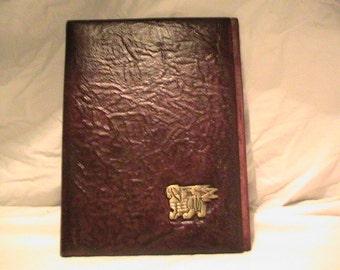 Vintage 1970's Handmade Dark Brown Leather Portfolio