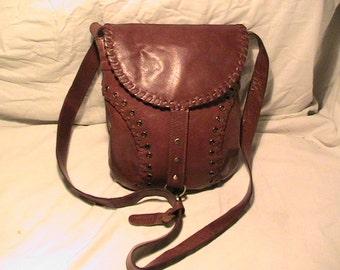 Vintage 1990' Brown Leather Handbag Shoulder Bag- LLOYD BAKER