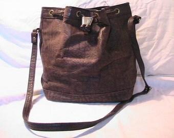 Vintage 1980's Dark Brown Leather Handbag Shoulder bag
