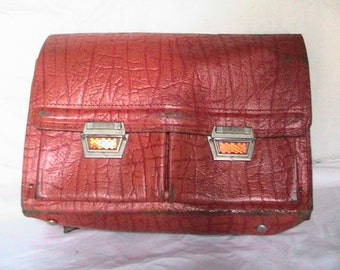 Vintage1970's Orange Leather School Bag