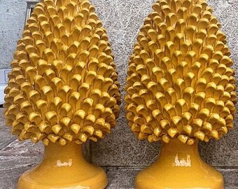 Italian ceramic yellow Pine cone
