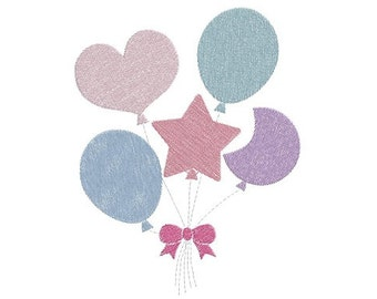 balloons machine embroidery design