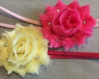 Set of 2 mini shabby flower headbands with swarovski crystals