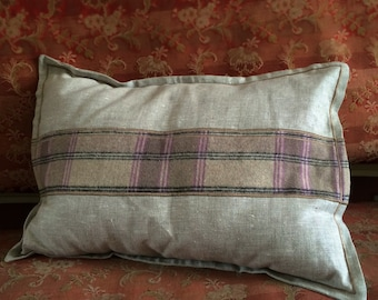 Handmade Linen and plaid brushed cotton cushion cover 55cm x 40cm