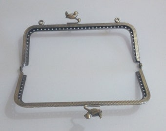1 bronze metal purse frame with sewing holes 15 cm, supplies, bird decoration, coin purse frame