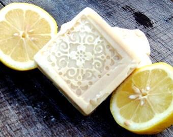 Decorative Handmade Organic goat's milk soaps with essential lemon oils