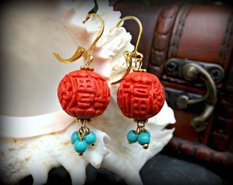 Red Ethnic Dangle Earrings, Turquoise Cinnabar Turquoise Earrings, Red Ethnic earrings, Tribal Dangle Earrings Ethnic Jewelry Tribal Jewelry