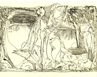 "Original Offsetlithograpie by Roland Staab, title: ""thoughts landscape"", 21 x 30 cm, on paper, 2010"
