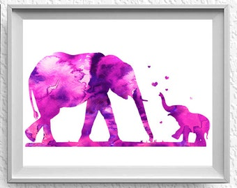 Elephant Mother and Baby Watercolor Art Wedding Gift Print Wall Art Poster Wall Decor Art Home Decor Wall Hanging