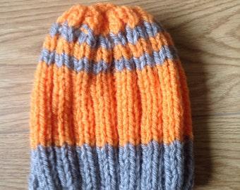 Childs age 2-4 orange and grey handmade beanie!