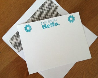 Flat notecards, handmade, set of 12//just saying hello//floral//everyday//stationery//lined envelopes