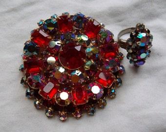 Vintage Ruby Rhinestone Brooch and Ring set