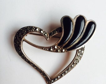Sterling Silver Heart Brooch with Marcasites and Onyx Stones