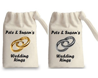Personalised Wedding Rings & Names Natural Drawstring Bag 100% Cotton - Empty - Great Wedding Gift - Personalized To Bride / Groom Names