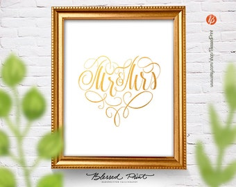 Mr and Mrs Printable Wedding Gift or Bridal Shower Gift 8x10 INSTANT DOWNLOAD poster Art Home Decor golden heart by BlessedPrint
