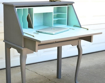 PORTFOLIO Secretary Desk   Slate And Aqua Painted Curved Leg Table