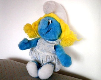 Smurf, Smurfette Vintage Cuddly Toy, 1984, cartoon