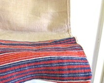 Antique Handwoven Grain Sack / Grain Sack Pillow Cover Fabric / Decorative Hay Sack Hand Loomed / Antique Hemp Textile in Red - Blue Stripes
